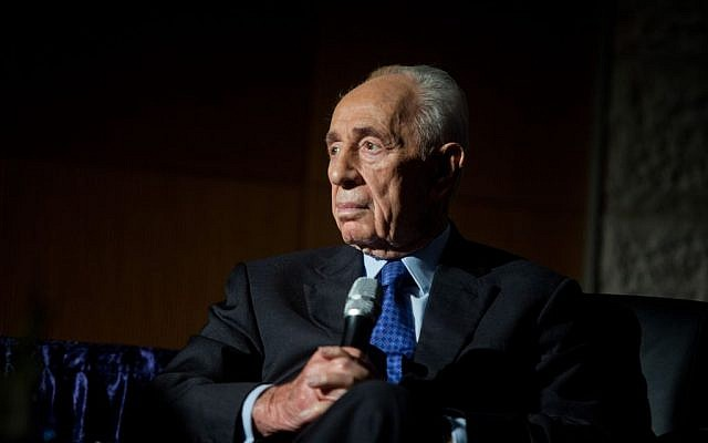 Former Israeli president Shimon Peres in Jerusalem, November 2, 2015 (Flash90)