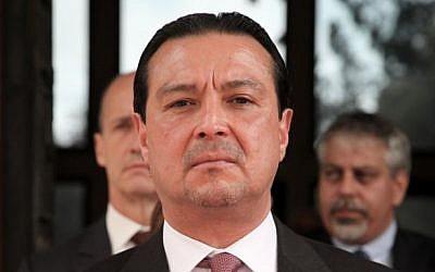 Portrait of then-incoming El Salvador Ambassador to Israel Werner Matias Romero Guerra at the President's Residence in Jerusalem, November 9, 2015. (Isaac Harari/Flash90)