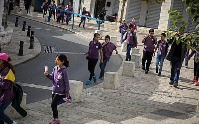 Illustrative: Children seen walking back from school in Nazareth. (Hadas Parush/Flash90)