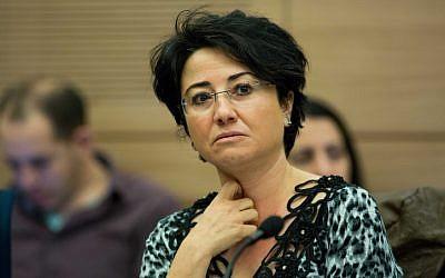 Hanin Zoabi of the Joint (Arab) List in the Knesset on December 22, 2015. (Yonatan Sindel/Flash90)