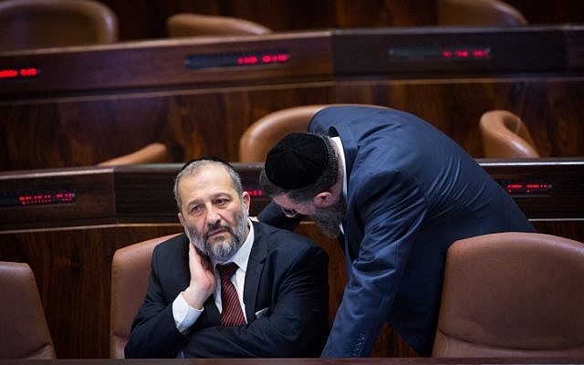 Shas party leader Aryeh Deri in the Knesset on December 30, 2015. (Miriam Alster/Flash90)