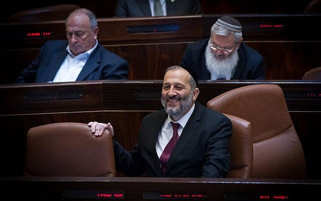 Incoming interior minister Aryeh Deri in the Knesset, January 11, 2016. (Miriam Alster/Flash90)