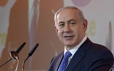 Prime Minister Benjamin Netanyahu speaks at a toast for the New Year with representatives of the foreign press in Jerusalem, on January 14, 2016 (Amos Ben Gershom/GPO)