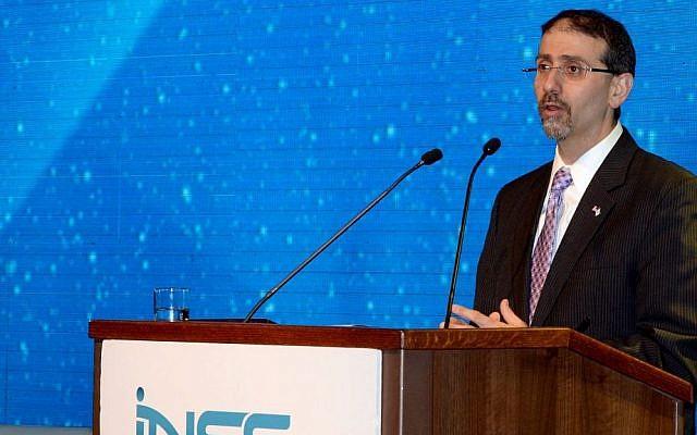 US Ambassador Dan Shapiro speaks at the 9th Annual International Conference of the Institute for National Security Studies in Tel Aviv on January 18, 2016. (Matty Stern/U.S. Embassy Tel Aviv)