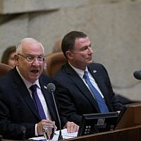 President Reuven Rivlin (L) addresses the Israeli parliament during a special plenum session marking the 50th birthday of the Knesset on January 19, 2016. (Yonatan Sindel/Flash90)