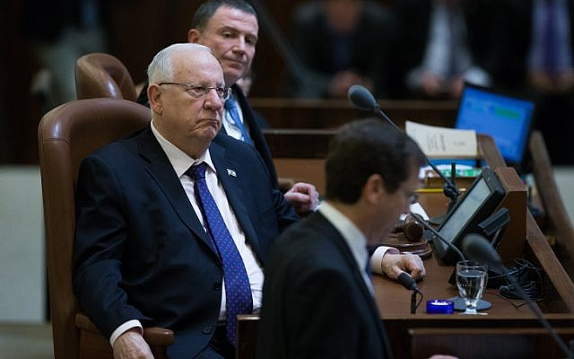 Knesset Speaker Yuli Edelstein (top), President Reuven Rivlin (center) and opposition leader Isaac Herzog attend a special anniversary session of parliament, on January 19, 2016. (Photo by Yonatan Sindel/Flash90)