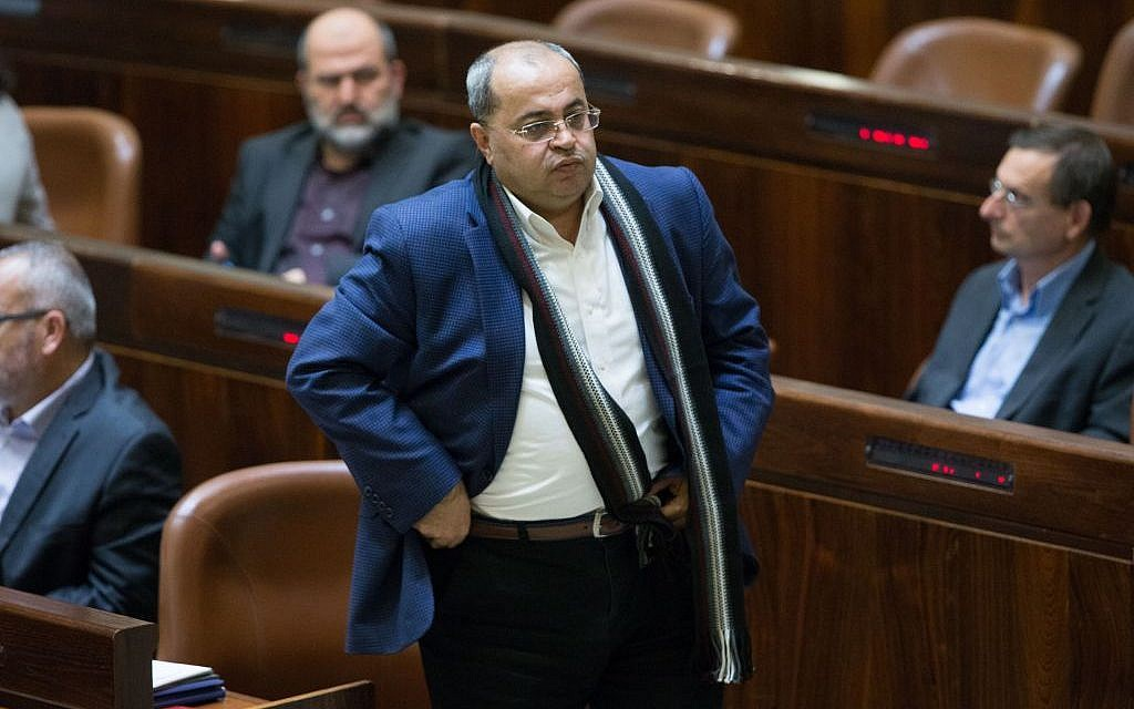 MK Ahmad Tibi seen at the Israeli parliament during a special plenum session marking the 50th birthday of the Knesset, January 19, 2016. (Photo by Yonatan Sindel/Flash90)