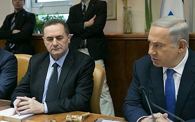 Prime Minister Benjamin Netanyahu sits next to Transportation Minister Yisrael Katz at the weekly cabinet meeting on Sunday, January 24, 2016 (Ohad Zwigenberg/POOL)