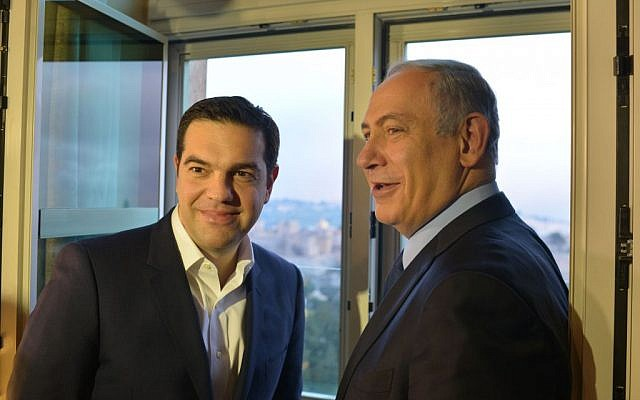 Prime Minister Benjamin Netanyahu (R) with his Greek counterpart Alexis Tsipras, at the King David hotel in Jerusalem, January 27, 2016. Kobi Gideon/GPO)