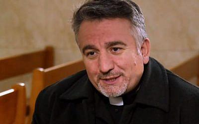 Father Douglas Al-Bazi in his Mar Elia Chaldean Catholic Church in Erbil, Iraq. (screenshot)