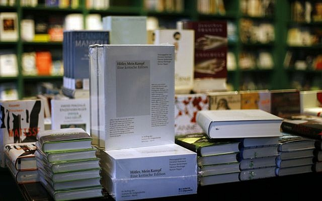 A copy of 'Hitler, Mein Kampf -- A critical edition' stands on a display table in a bookstore in Munich, Germany, Friday, Jan. 8, 2016. This annotated edition is the first version of Adolf Hitler's notorious manifesto to be published in Germany since the end of World War II. (AP/Matthias Schrader)