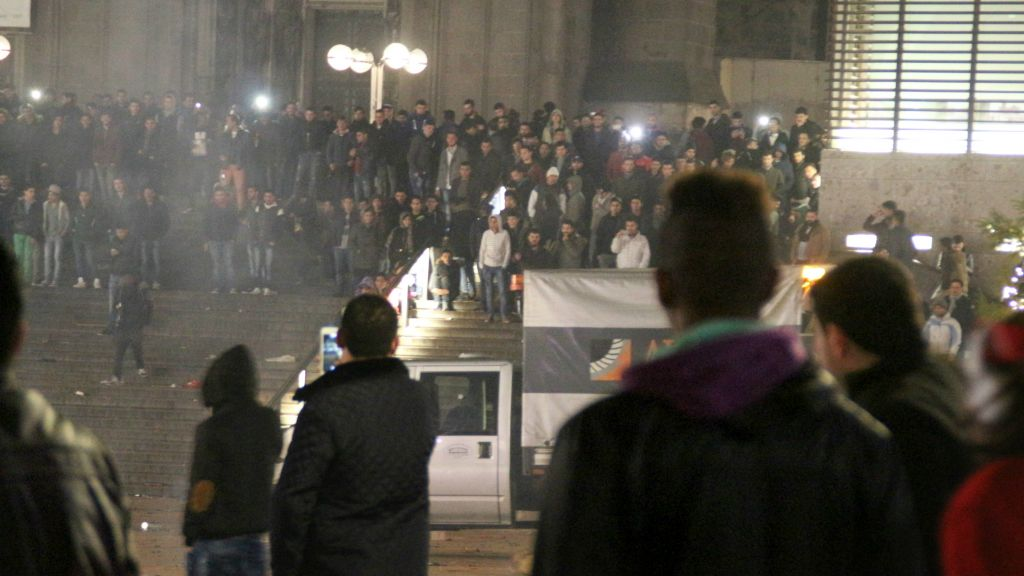 In this Dec. 31, 2015 picture, people gather at the Cologne, Germany, main train station. (Markus Boehm/dpa via AP)