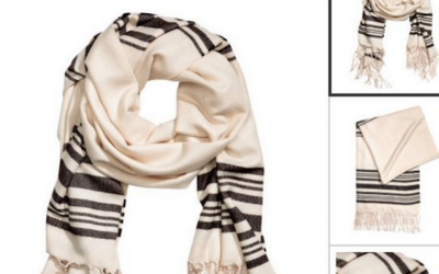 An H&M scarf with a striking resemblance to a Jewish prayer shawl. (screen capture: Twitter)