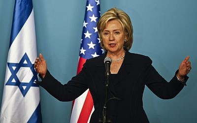 US Secretary of State Hillary Rodham Clinton speaks to the media during during a press conference with Israeli Prime Minister Benjamin Netanyahu in Jerusalem. Saturday, October 31. 2009.(AP Photo/Dan Balilty)