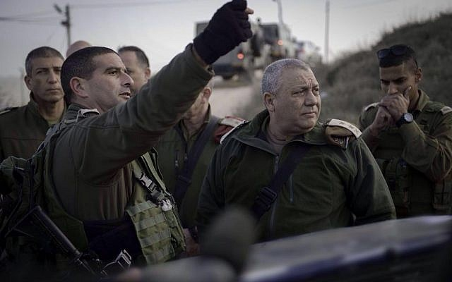 IDF Chief of Staff Lt. Gen. Gadi Eizenkot near the scene of a stabbing attack in Otniel in the West Bank on Monday, January 18, 2016 (IDF spokesperson)