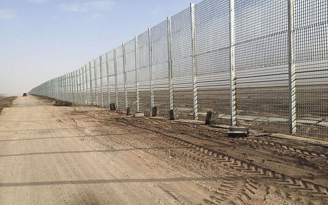 A section of the Israel-Jordan security fence, constructed in January 2016 (Defense Ministry)
