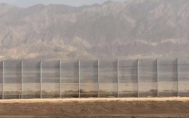 A section of the Israel-Jordan security fence, constructed in January 2016. (Ministry of Defense)