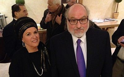 Jonathan Pollard and wife Esther, photographed during a coffee break when they met with the Conference of the Presidents of Major American Jewish Organizations on January 24, 2016. (Courtesy Justice4JP)