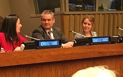 Left to right: Kimberly Mann, Chief Education Outreach Section, United Nations; Szabolcs Takacs, Chair of the International Holocaust Remembrance Alliance; and Cecillie Felicia Stokholm Banke, Senior Researcher at the Danish Institute for International Studies. (Cathryn J. Prince)