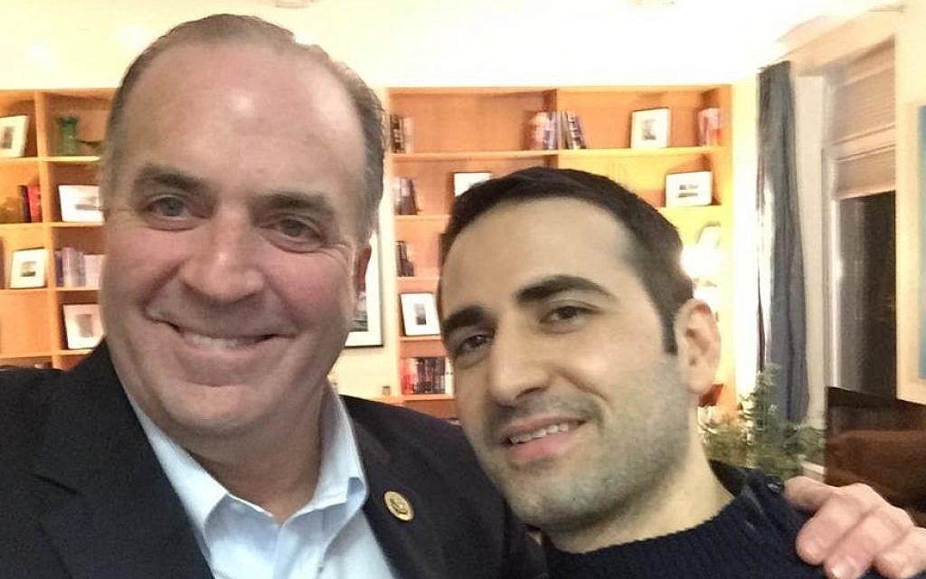US Rep. Dan Kildee meets with former Iran prisoner Amir Hekmati at Landstuhl Regional Medical Center in Landstuhl, Germany, January 18, 2016. (Courtesy of the Hekmati Family via AP)
