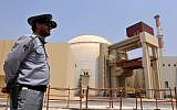 The reactor building at the Russian-built nuclear power plant in Bushehr, in southern Iran, as the first fuel is loaded, August 21, 2010. (Iran International Photo Agency via Getty Images/via JTA/File)