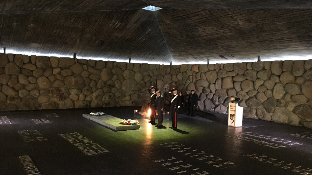 Italian ceremony for International Holocaust Remembrance Day at Yad Vashem, January 27, 2016. Rossella Tercatin/The Times of Israel)