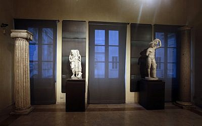 Some of the marble statues that were covered up with wooden panels on the occasion of Iranian President Hassan Rouhani's visit, seen at the Capitoline Museums, Rome, January 26, 2016. (AP Photo/Gregorio Borgia)