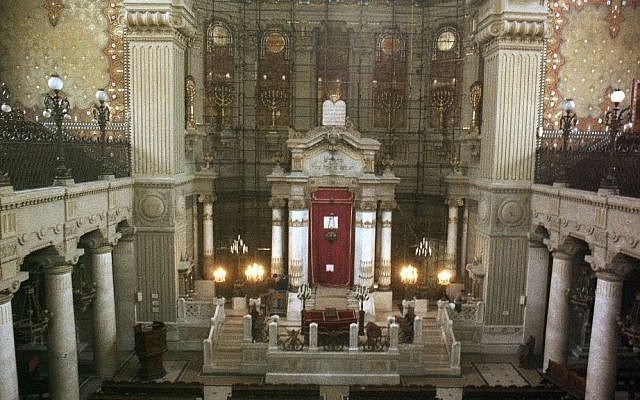 FILE - A March 26, 1986 photo from files showing an interior view of the Great Synagogue of Rome. (AP Photo/File)