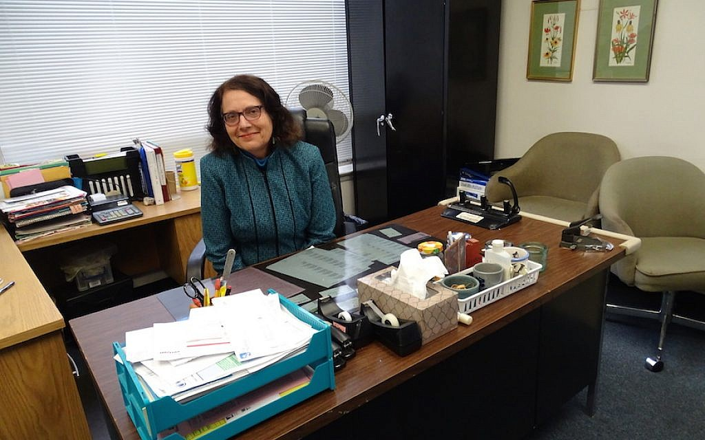 Ellen Gerecht, executive director of the National Center to Encourage Judaism, at her office in Silver Spring, Maryland, Dec. 29, 2015. (Suzanne Pollak/Washington Jewish Week, via JTA)