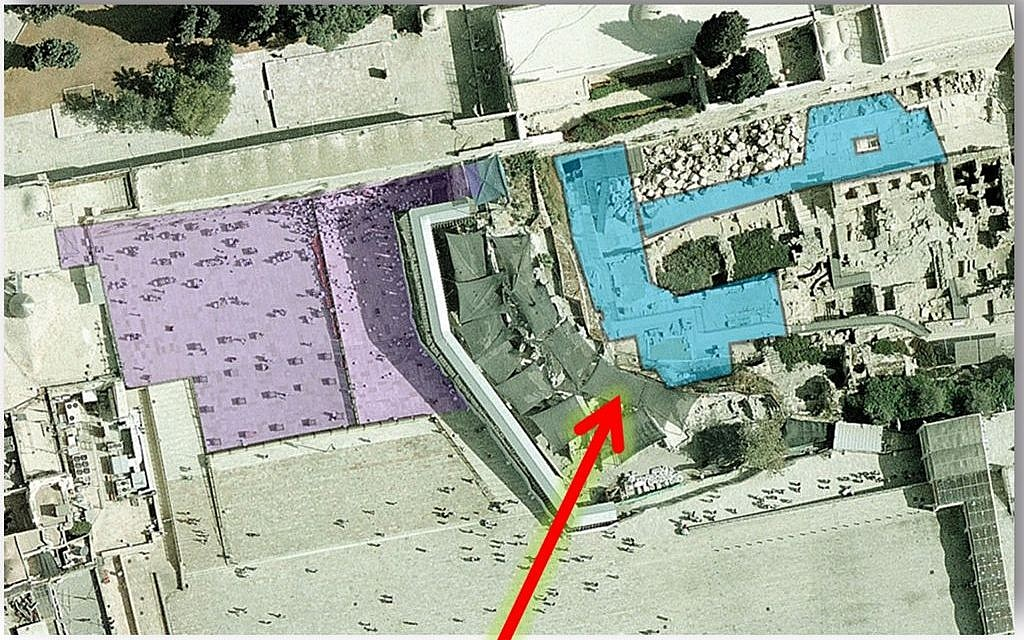 The pluralist section, shaded in blue, will double in size to nearly 10,000 square feet. The Orthodox section, shaded in purple, takes up some 21,500 square feet. The area in back of the Orthodox section is meant for national ceremonies. (JTA)