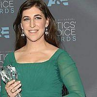 Mayim Bialik at the 21st Annual Critics' Choice Awards in Santa Monica, California, January 17, 2016. (Jason Merritt/Getty Images/via JTA)