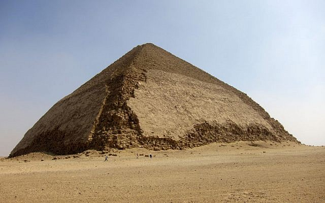 Tourists leave the Bent Pyramid at Dahshur, about 25 miles south of Cairo, Egypt on Aug. 19, 2011. (AP Photo/Coralie Carlson, File)