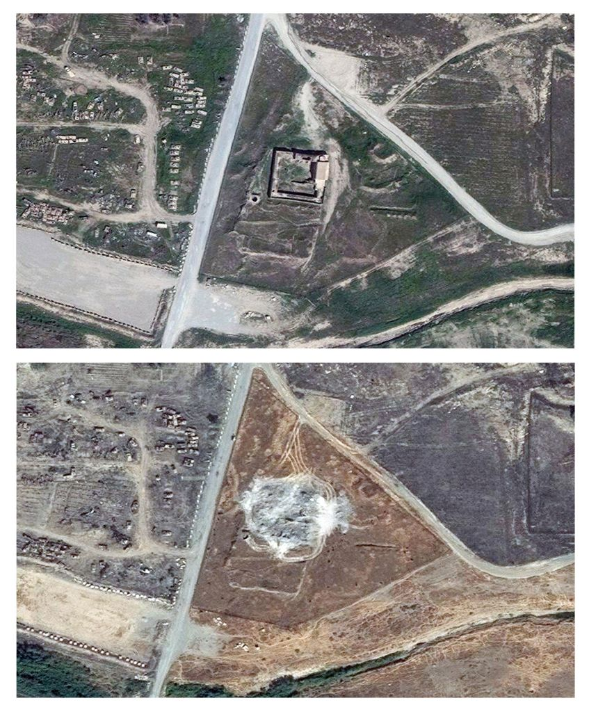 This combination of two satellite images provided by DigitalGlobe, taken on March 31, 2011, top, and Sept. 28, 2014, shows the site of the 1,400-year-old Christian monastery known as St. Elijah's, or Dair Mar Elia, on the outskirts of Mosul, Iraq. (DigitalGlobe via AP)