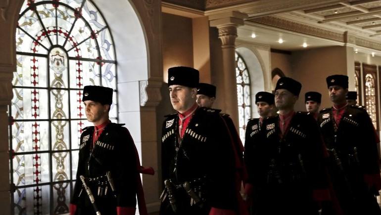 Circassian guards march inside Basman Palace, in Amman, Jordan, January 11, 2016 (AP Photo/Nariman El-Mofty)