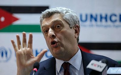 Filippo Grandi, the United Nations High Commissioner for Refugees, UNHCR, addresses the press in his first visit to Jordan after being appointed to the post, at the Zaatari refugee camp, Mafraq, Jordan, Monday, Jan. 18, 2016. (AP Photo/Raad Adayleh)