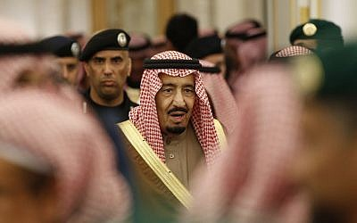 In this Jan. 24, 2015 file photo, Saudi Arabia's King Salman attends a ceremony at the Diwan royal palace in Riyadh. (AP Photo/Yoan Valat, Pool, File)