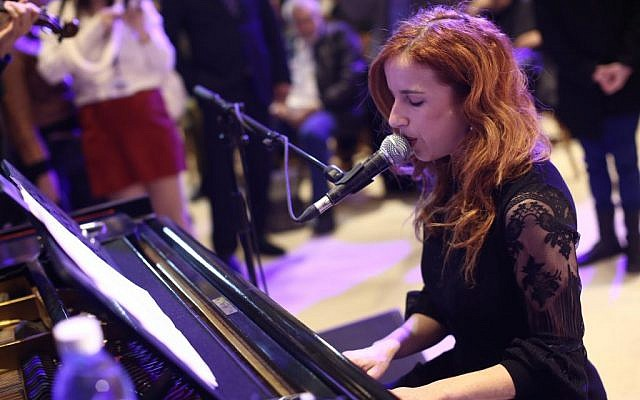 Zionist Union MK Stav Shaffir performs during the 50th anniversary of the Knesset on Tuesday, January 19 2016. (Knesset)
