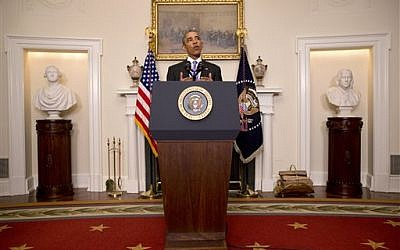 US President Barack Obama speaks about the release of Americans by Iran in the Cabinet Room of the White House in Washington,  January 17, 2016. (AP/Jacquelyn Martin)