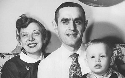 The Pater, surrounded by his American-born wife Yvette and baby Elliot Jager, circa 1956. Inset from the cover of 'The Pater: My Father, My Judaism, My Childlessness.' (courtesy)