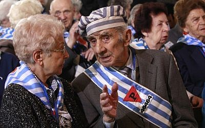 File: Holocaust survivors attend a ceremony at the former Auschwitz Nazi death camp in Oswiecim, Poland, on January 27, 2016, the 71st anniversary of the death camp's liberation by the Soviet Red Army in 1945. (AP Photo/Czarek Sokolowski)
