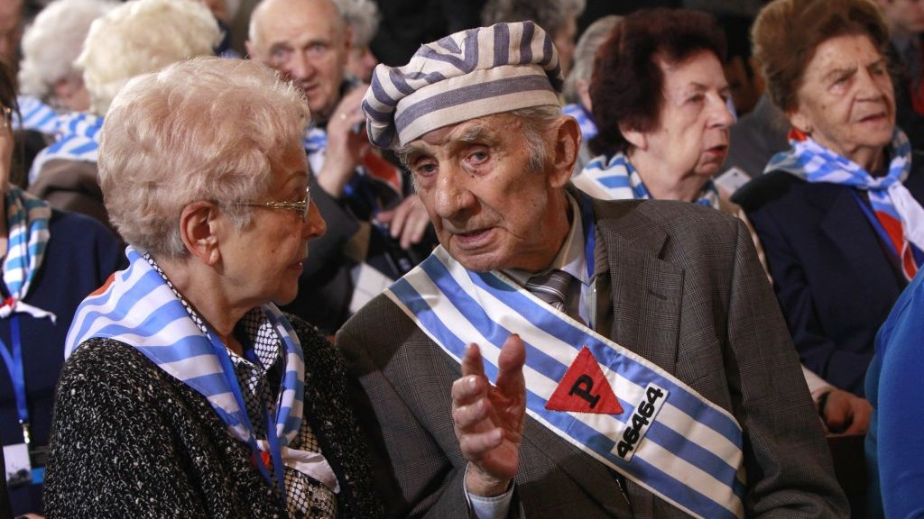 File Holocaust survivors attend a ceremony at the former Auschwitz Nazi death camp in Oswiecim Poland