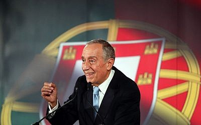 In this picture taken Jan. 20, 2016, Marcelo Rebelo de Sousa smiles while addressing supporters during his presidential election campaign in Lisbon. (AP Photo/Armando Franca)