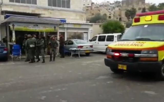 Scene of the shooting attack, in which one woman was moderately injured, near the Tomb of the Patriarchs in Hebron on January 3, 2016. (Screen capture)