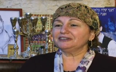 Sarah Rosenfeld, whose son Malachy was murdered in a terrorist attack in July 2015, speaks to Channel 10 on January 3, 2015. (screen capture: Channel 10)