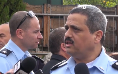 File: Israel Police Commissioner Roni Alsheich speaks with reporters during a press conference in the northern Israeli city of Carmiel on January 5, 2016. (Screen capture: Israel Police)