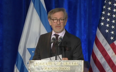 Steven Spielberg speaks at a Holocaust remembrance ceremony at the Israeli Embassy in Washington, January 27, 2016. (YouTube screenshot)