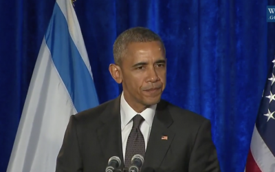 President Barack Obama speaks at a Holocaust remembrance ceremony at the Israeli Embassy in Washington, January 27, 2016 (YouTube screenshot)