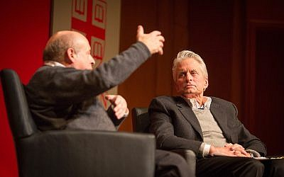 Appearing on January 28, 2016 at Brown University in Providence, Jewish Agency for Israel Chairman Natan Sharansky (left) and Hollywood legend Michael Douglas held a conversation on Jewish identity and pluralism. (Elan Kawesch/The Times of Israel)