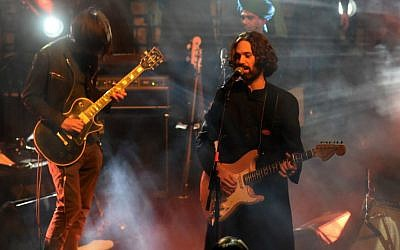 Shye Ben-Tzur, right, playing with Radiohead guitarist Jonny Greenwood at the Sacred Jerusalem Festival, September 1, 2015. (Noam Chojnowski/via JTA)