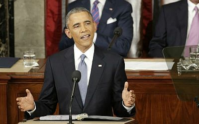 In this Jan. 20, 2015 file photo, President Barack Obama gives his State of the Union address before a joint session of Congress on Capitol Hill in Washington. (AP Photo/J. Scott Applewhite)